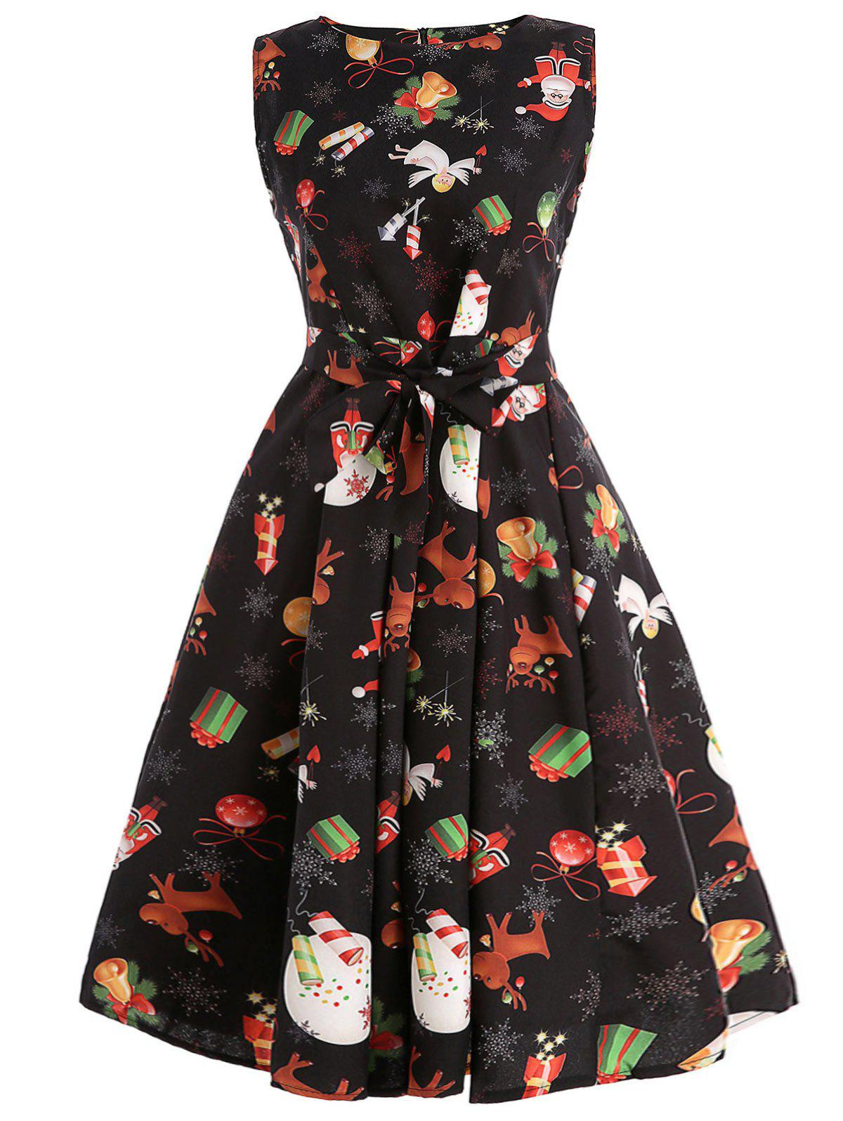 1bbb20e308 56% OFF   2019 Christmas Print Belted Skater Dress