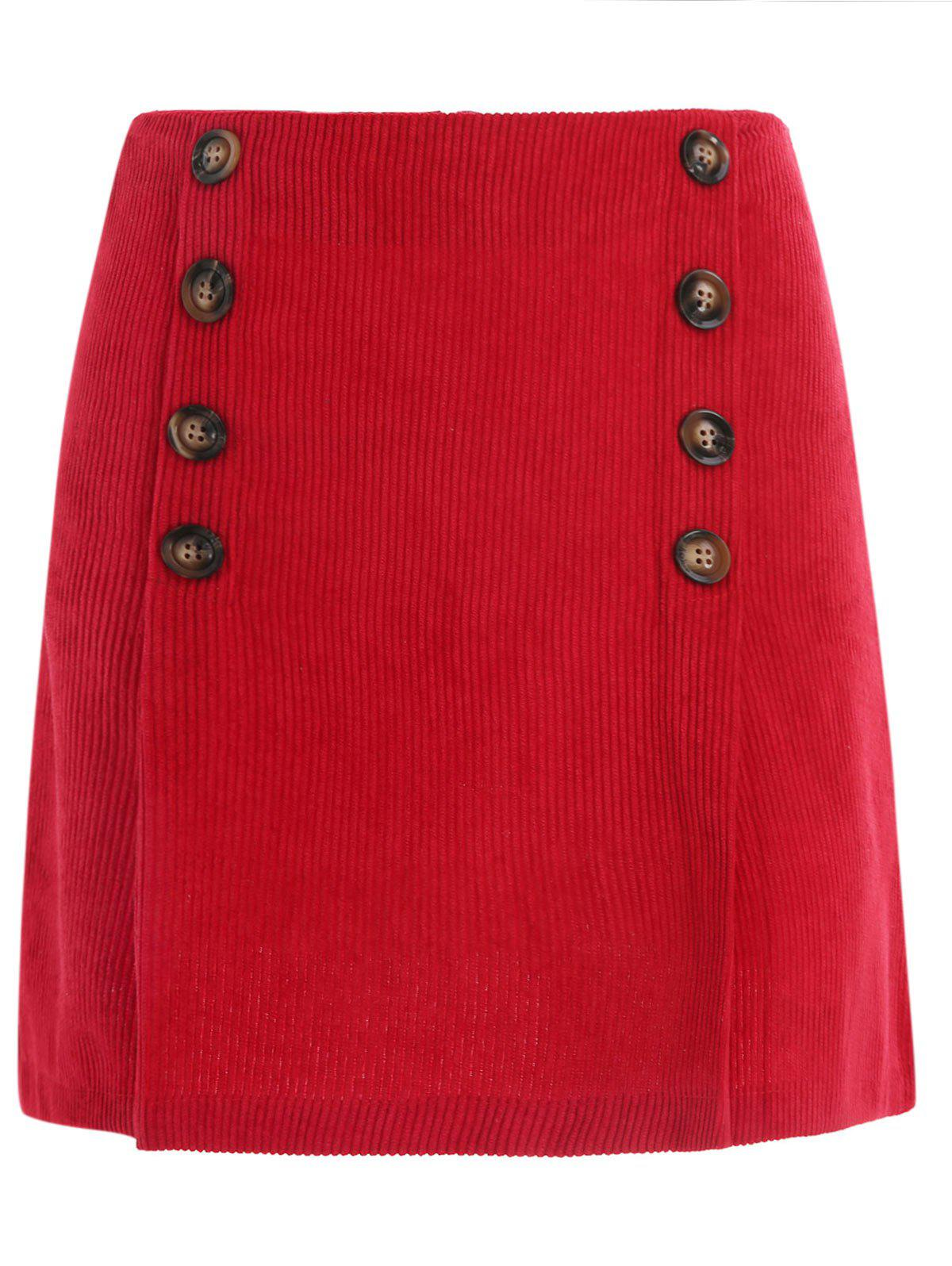 Chic Short Corduroy Skirt with Buttons