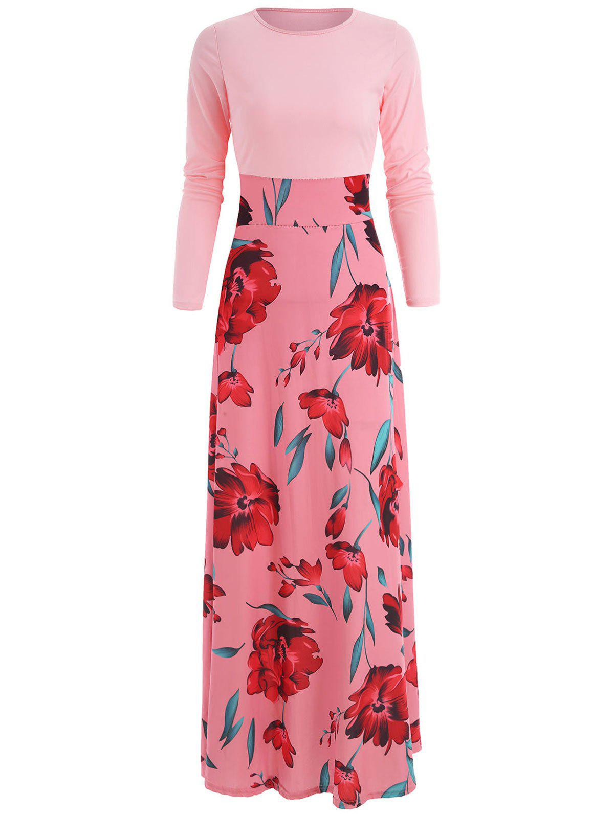 Cheap Floral Print High Rise Long Dress
