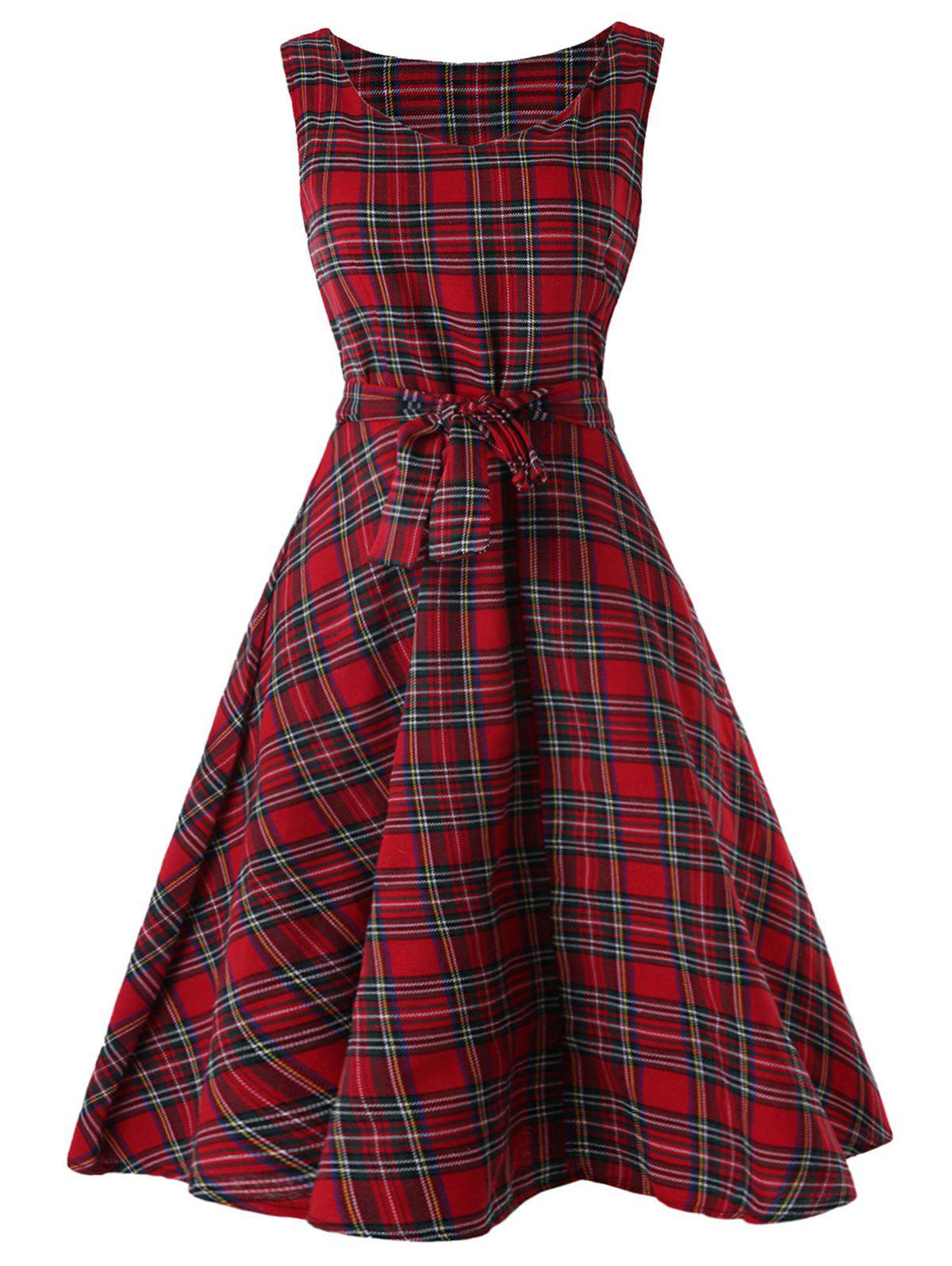 Unique Vintage Tartan Mid Swing Dress