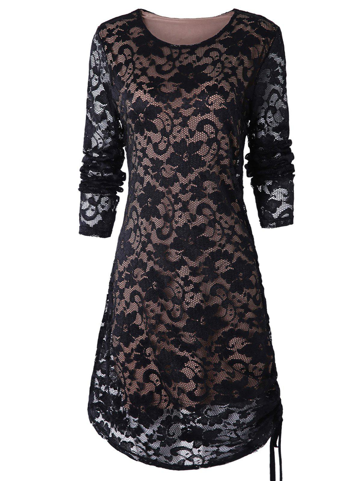 Latest Ruched Side Full Sleeve Tunic Lace Dress