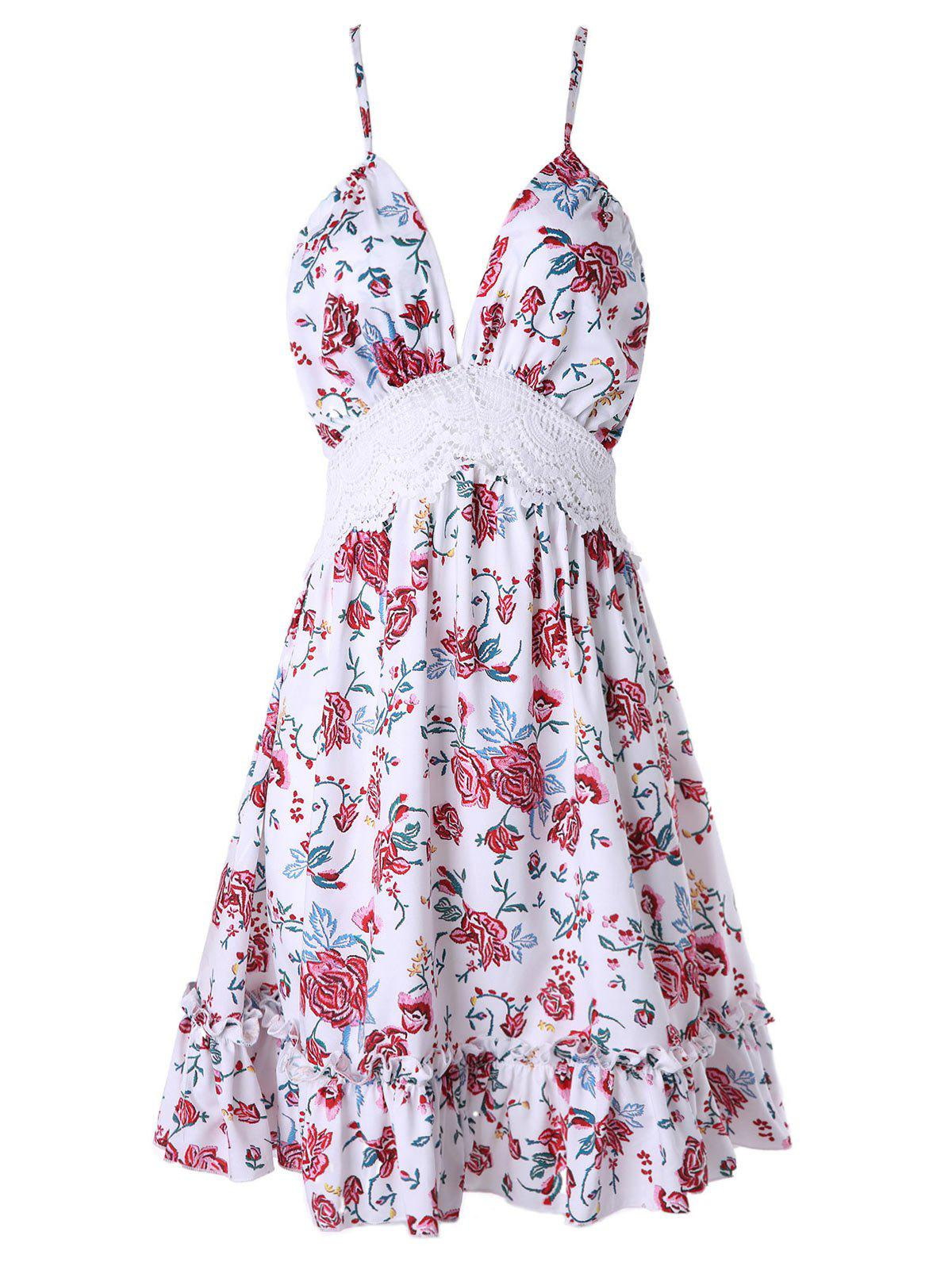 Online Floral Print Backless Halter Sewing Dress