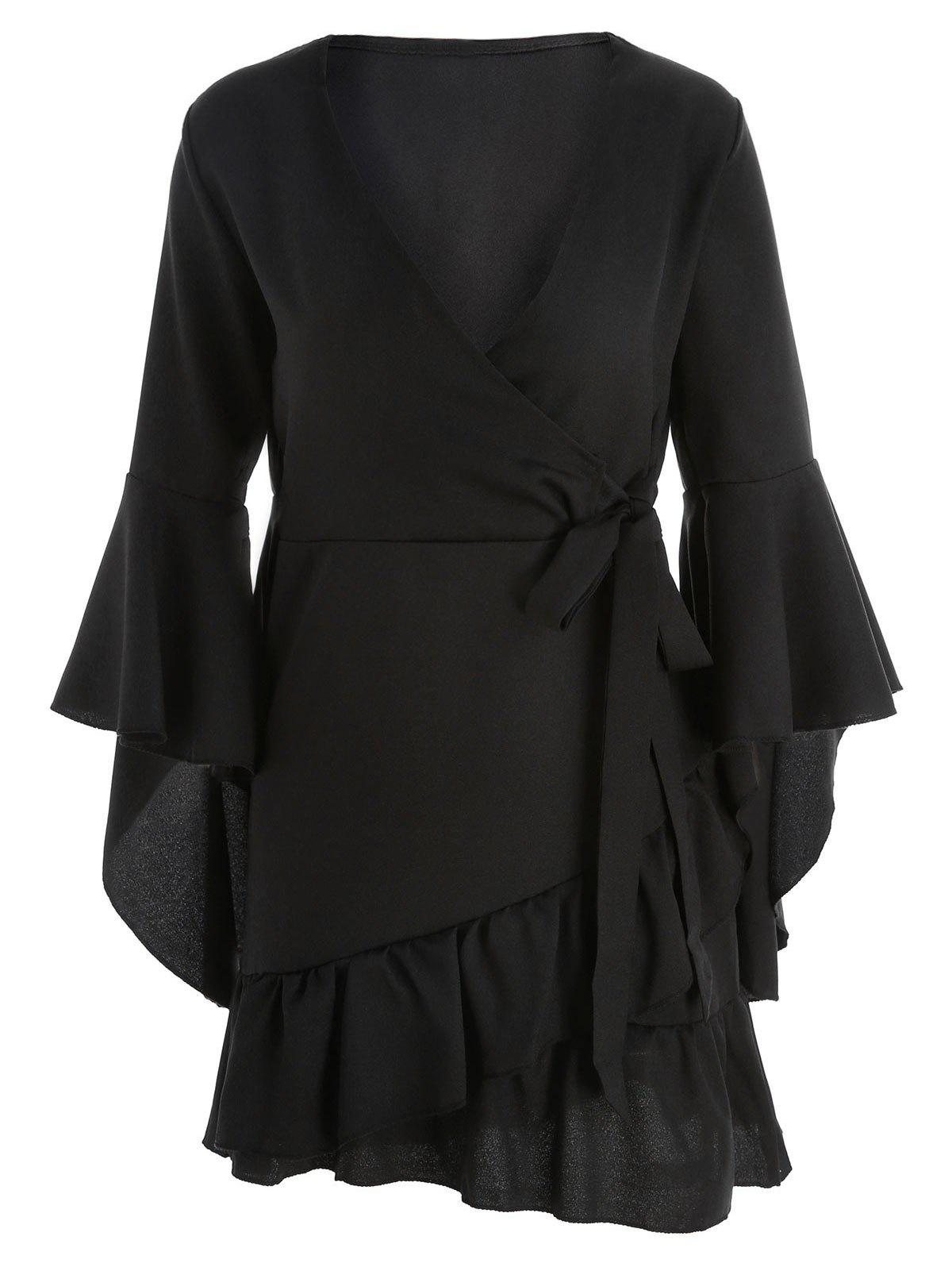 New Flare Sleeve Flounce Wrap Dress