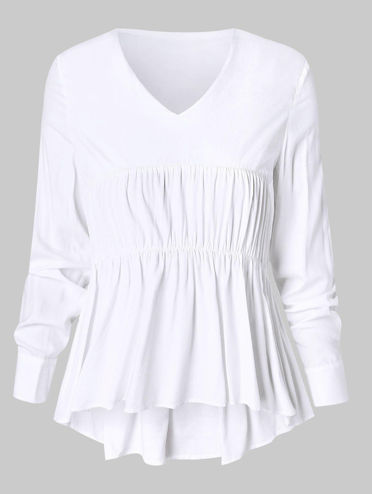 Shop Plus Size Smocked High Low Flounced Blouse