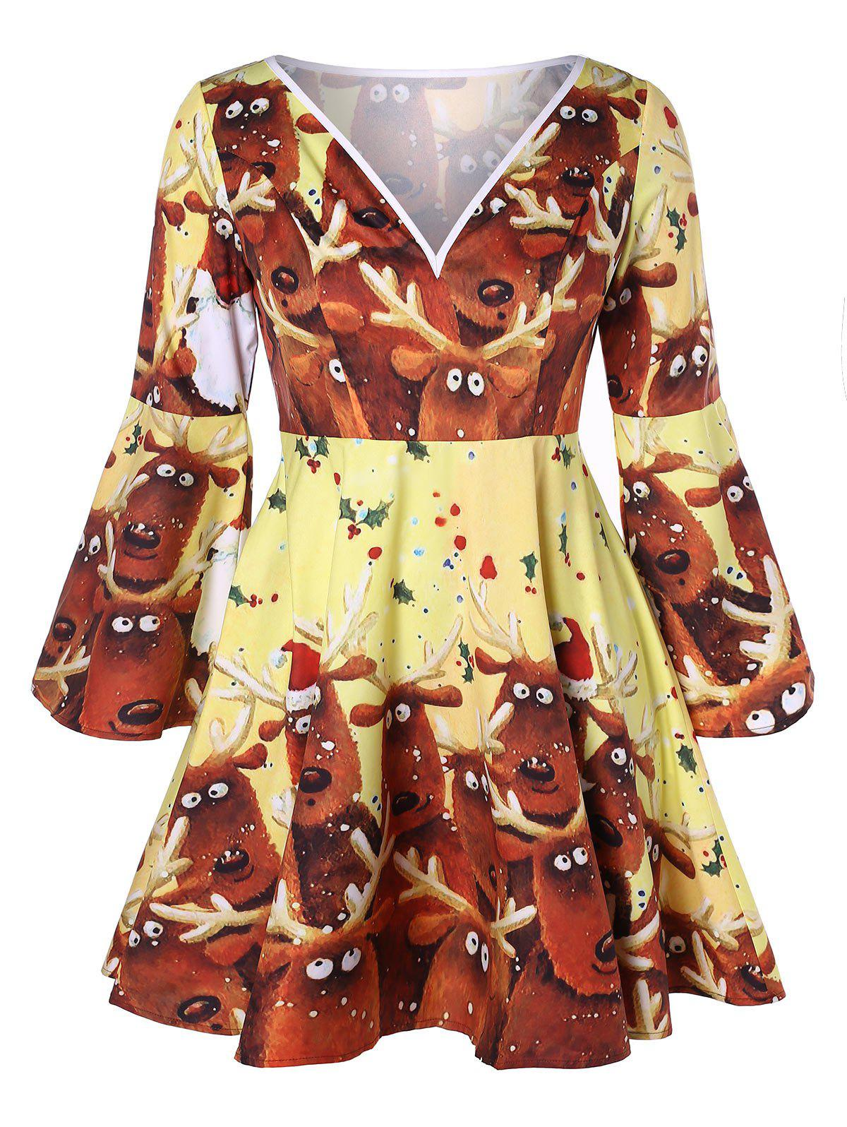 Plus Size Reindeer Print Flare Sleeve Christmas Dress