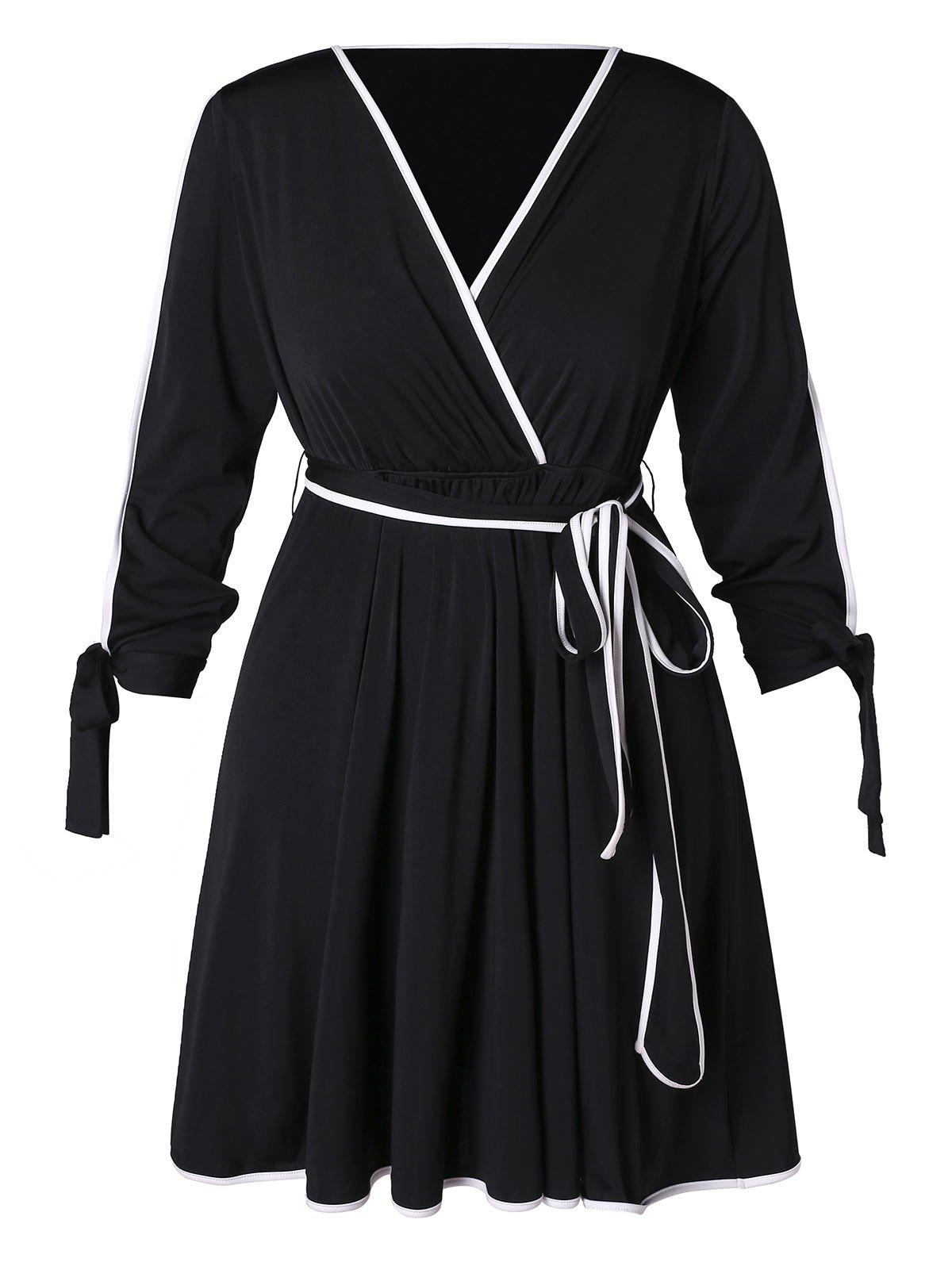 Unique Plus Size Contrast Trim A Line Dress