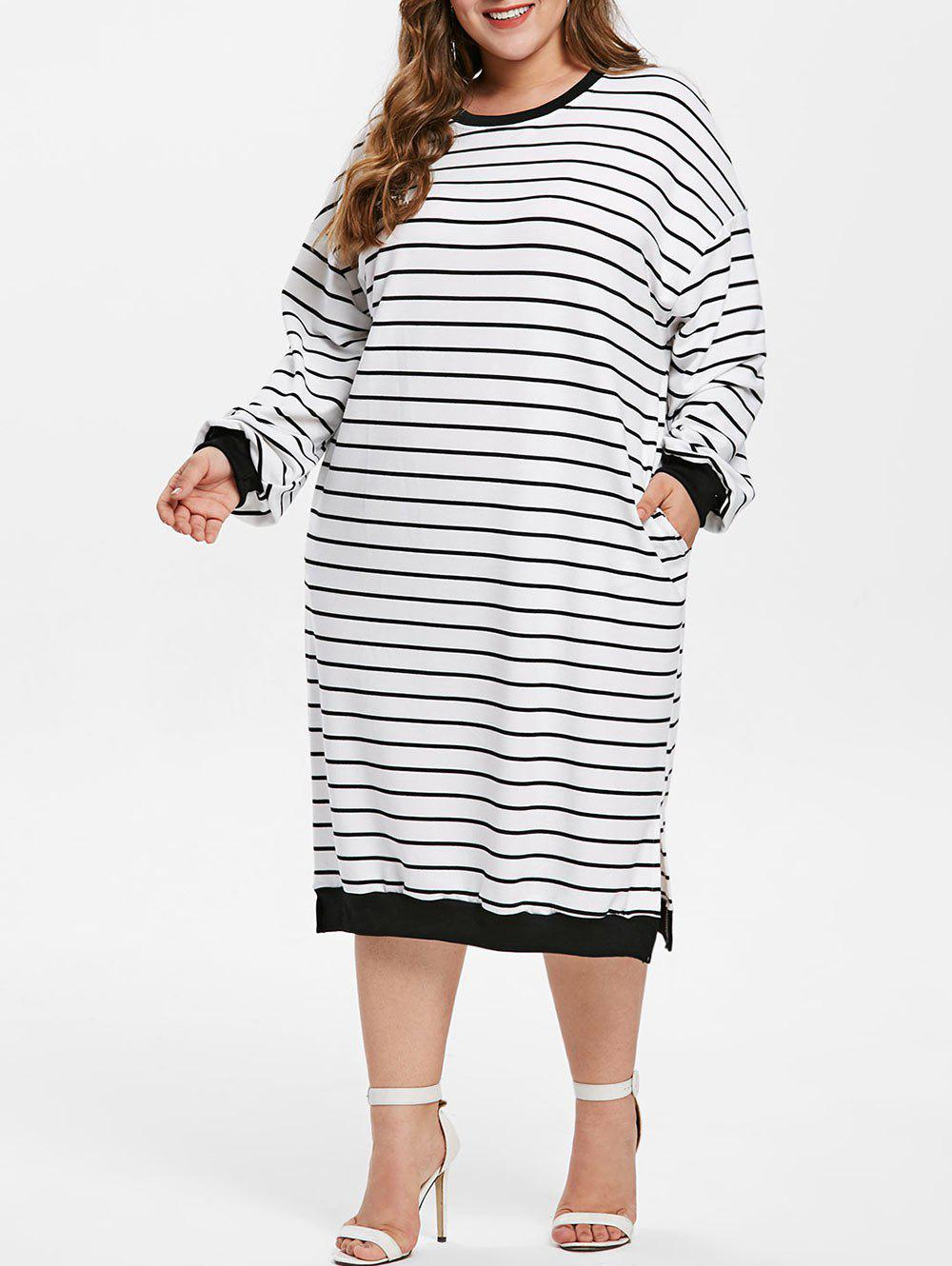 Affordable Drop Shoulder Plus Size Striped T-shirt Dress