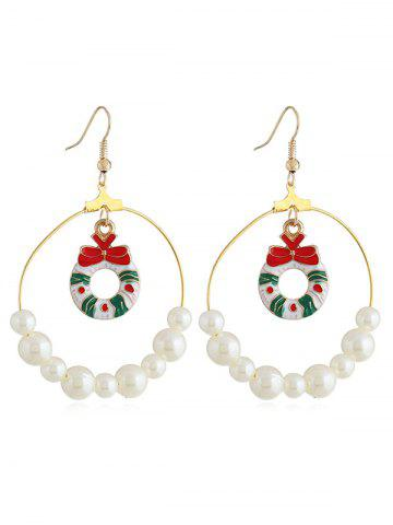 Christmas Bowknot Faux Pearl Round Hook Earrings
