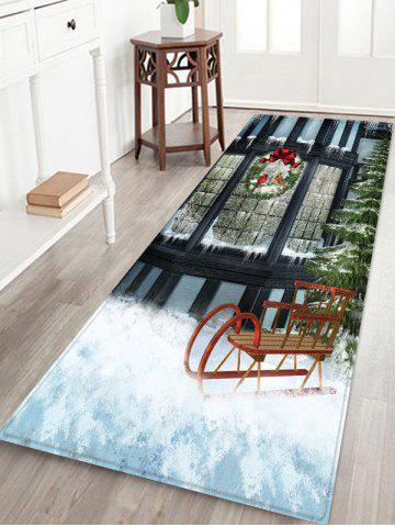 Window outside Snow Scenery Print Christmas Decor Area Rug - MULTI - W24 X L71 INCH