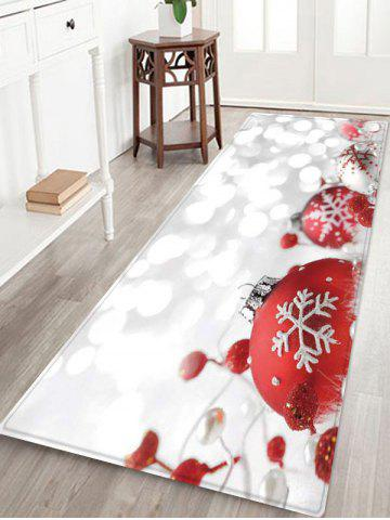 Christmas Snowflakes Baubles Print Area Rug - MULTI - W24 X L71 INCH