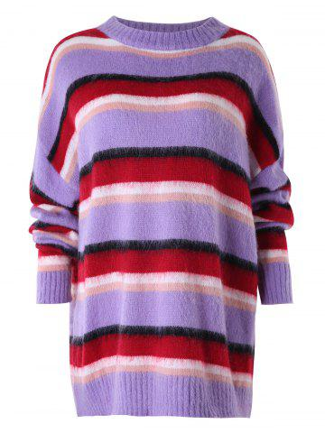 Dropped Shoulder Multicolor Stripe Sweater