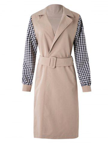 Plaid Sleeve Wrap Trench Coat