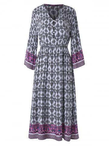 Bohemia Print Half Button Midi Dress