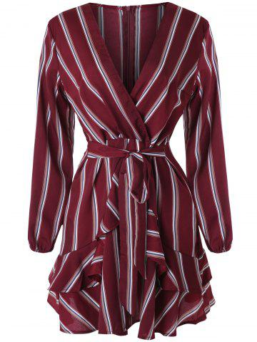 Plunging Neckline Belted Stripe Faux Wrap Dress