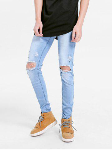 Stretchy Destroyed Hole Skinny Jeans