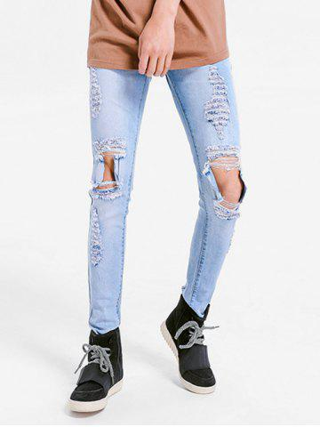 Solid Color Skinny Ripped Jeans - LIGHT BLUE - 42