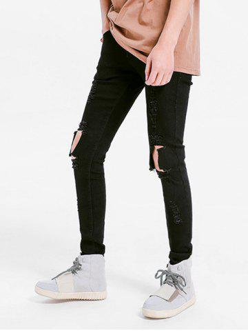 Solid Color Skinny Ripped Jeans