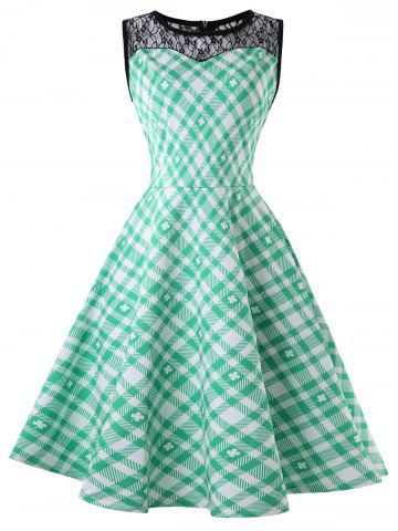 Plaid Lace Panel A Line Dress