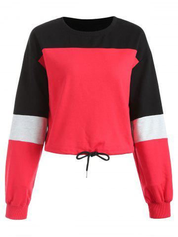 Contrast Color Drawstring Sweatshirt