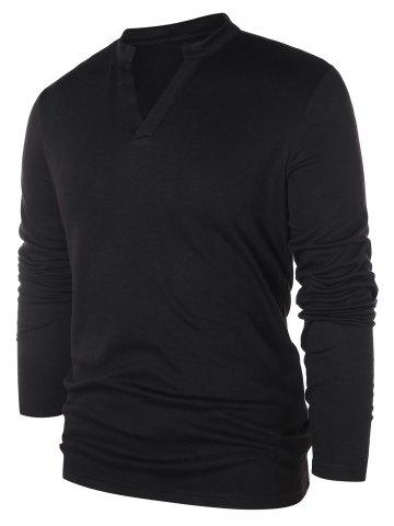 Solid Notch Neck Pullover Sweater