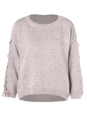 Lace Up Crew Neck Pullover Sweater