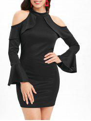 Mock Neck Cold Shoulder Bodycon Dress -