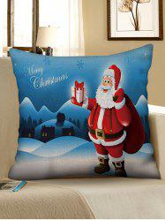 Snow Scenery Santa Claus Print Christmas Pillow Case -
