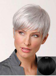 Short Inclined Fringe Straight Pixie Human Hair Wig -
