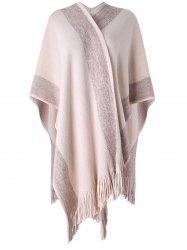 Shiny Sweater Cape with Fringes -