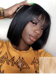 Short See-through Bang Straight Bob Capless Human Hair Wig -