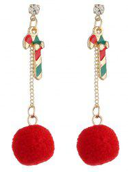 Colored Cane Fuzzy Ball Party Earrings -