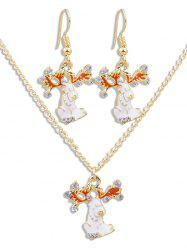 Rhinestone Animal Pendant Necklace Earrings Set -