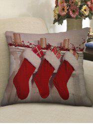 Christmas Socks Gifts Candles Print Throw Pillow Case -