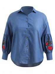 Plus Size Floral Embroidered Asymmtrical Chambray Shirt -