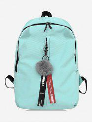 Letter Print Faux Fur Ball School Backpack -