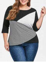 Plus Size Scoop Neck Patchwork Top -