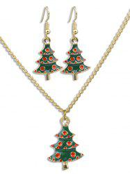 Christmas Tree Alloy Earrings Necklace Set -