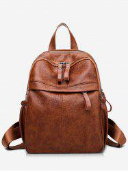 PU Leather Large Capacity School Backpack -