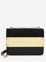 Metal Color Block Chic Crossbody Bag -