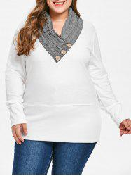 Sweat-shirt Tunique en Maille Torsadée Grande Taille - Blanc XL