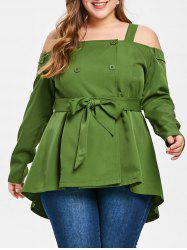 Plus Size Open Shoulder Double Breasted Blouse -