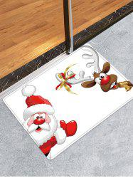 Christmas Santa Elk Pattern Water Absorption Area Rug -