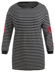 Plus Size Floral Embroidered Striped Tee Dress -