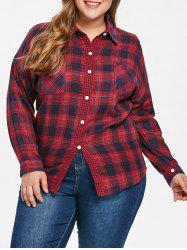 Front Pockets Plus Size Tartan Shirt -