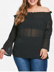 Plus Size Off The Shoulder Smocked Blouse -