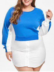 Color Block Plus Size Shirt Dress -