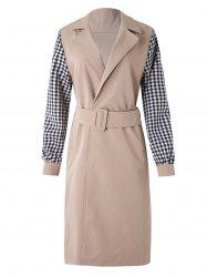 Plaid Sleeve Wrap Trench Coat -