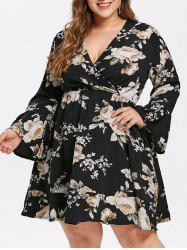 Flare Sleeve Plus Size Floral Dress -