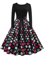 Vintage Belted Polka Dot Swing Dress -