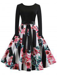 Vintage Floral Print Belted 1950s Dress -